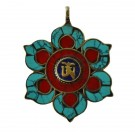 Colgante tibetano loto con mantra om