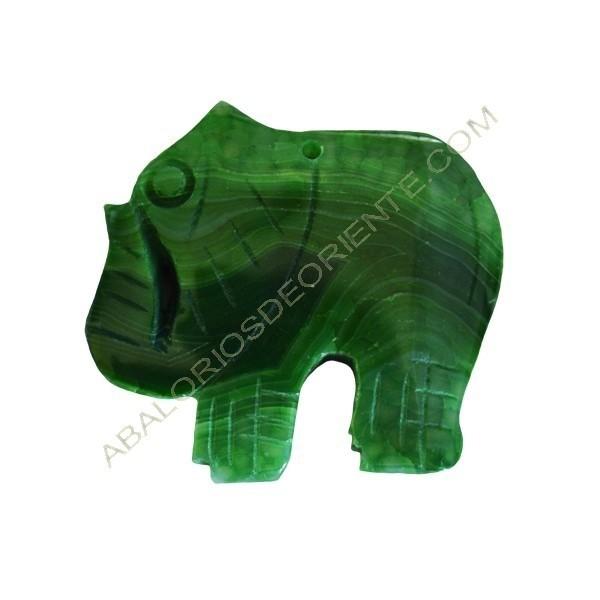 Colgante de Ágata natural verde elefante