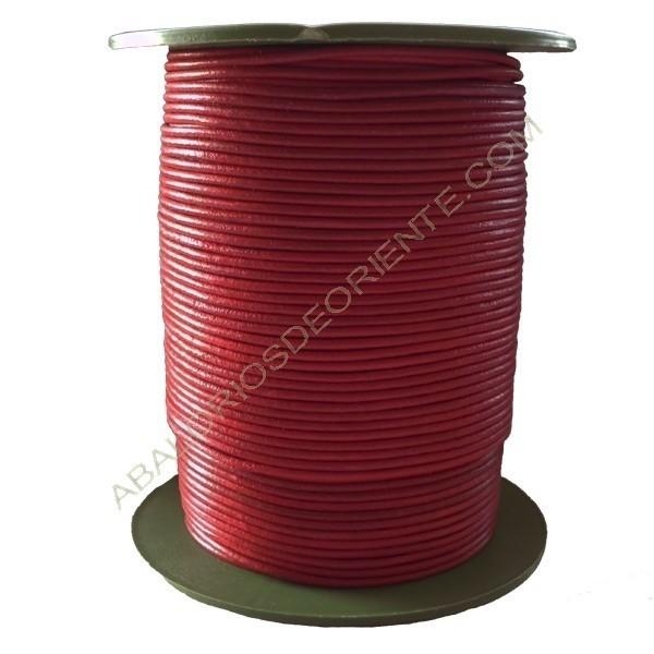 Cuero rojo Chino 2 mm calidad económica (Carrete)