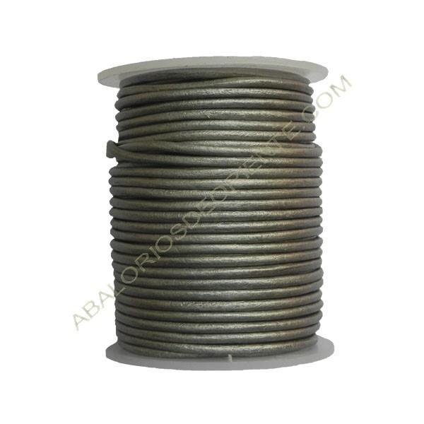 Cuero 2 mm Plata metalizado 22
