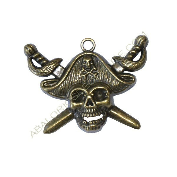 Colgante calavera pirata bronce