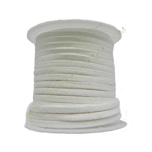 Cordón de ante blanco 3 x 1 mm