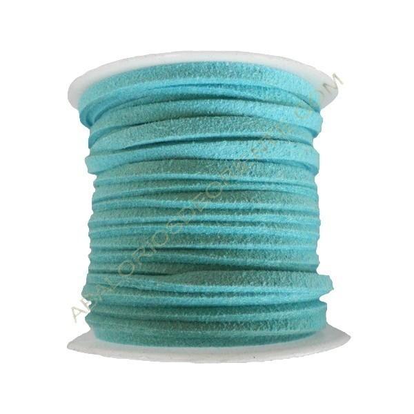 Cordón de ante azul turquesa 3 x 1 mm