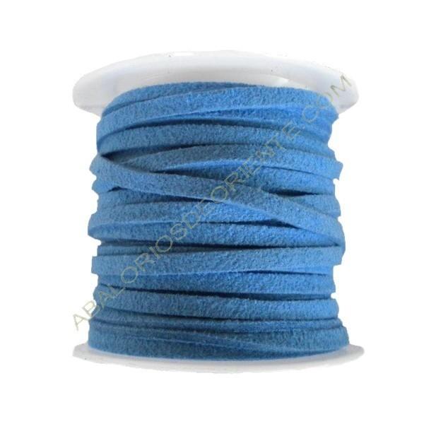 Cordón de ante azulón 3 x 1 mm