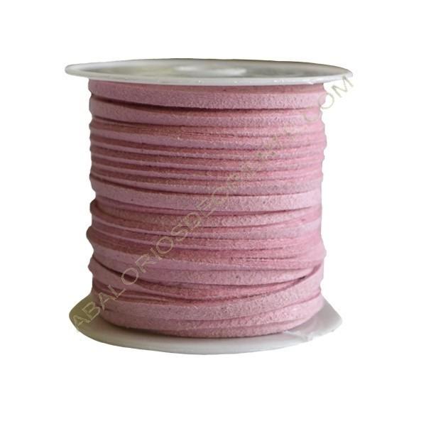 Cordón de ante rosa bebé 3 x 1 mm