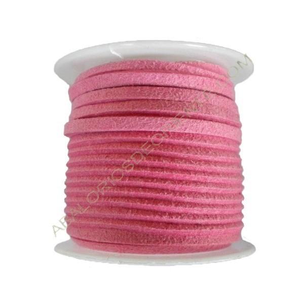 Cordón de ante rosa chicle 3 x 1 mm