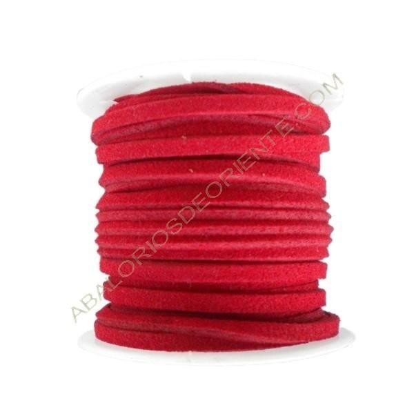 Cordón de ante rojo 3 x 1 mm