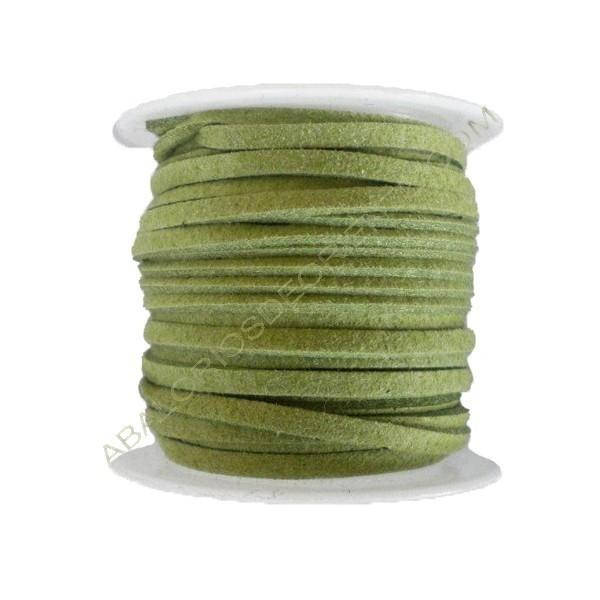 Cordón de ante verde 3 x 1 mm