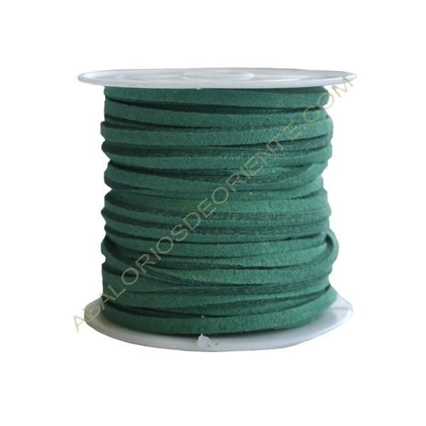 Cordón de ante verde esmeralda 3 x 1 mm