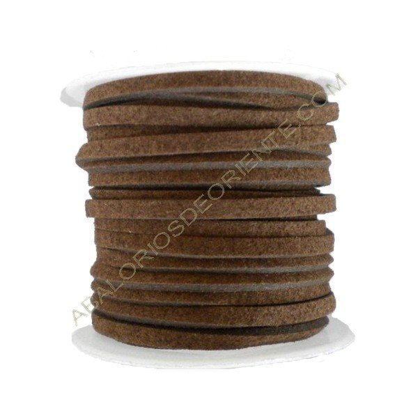 Cordón de ante marrón 3 x 1 mm