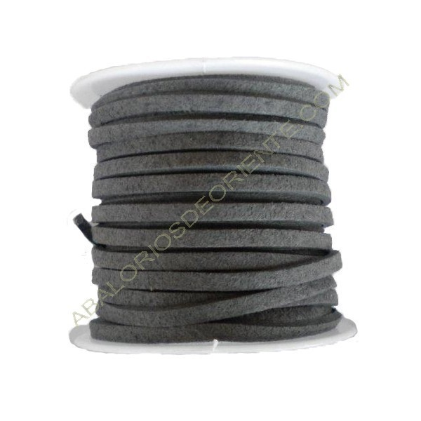 Cordón de ante gris 3 x 1 mm