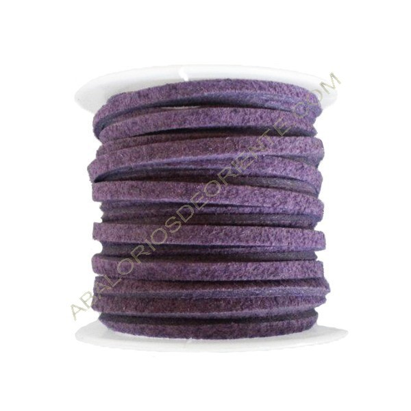 Cordón de antelina morado 3 x 1 mm