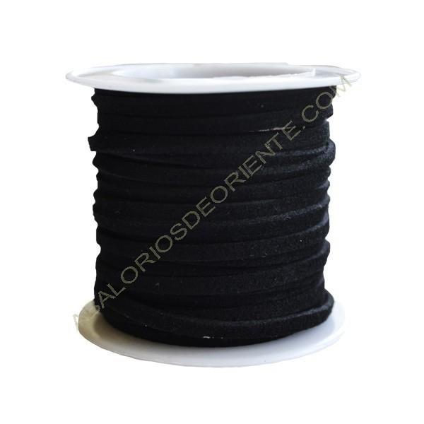 Cordón de ante negro 3 x 1 mm