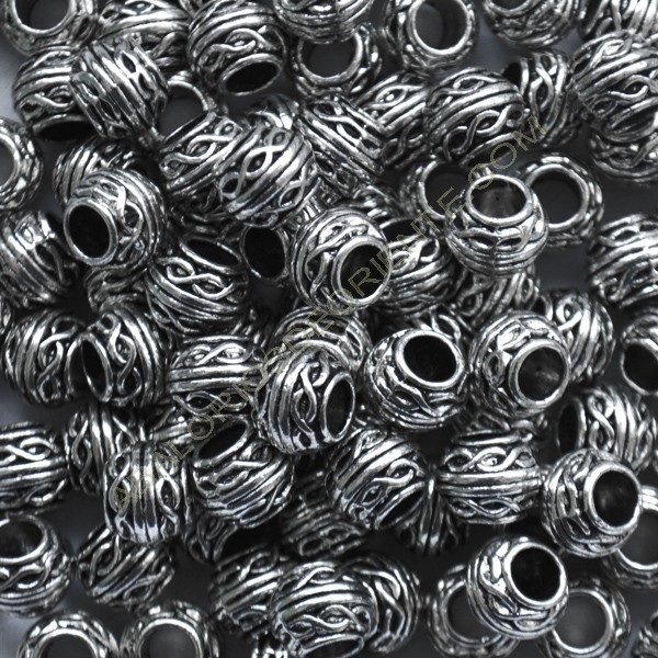 Entrepieza tonel plateada de 8 x 10 mm