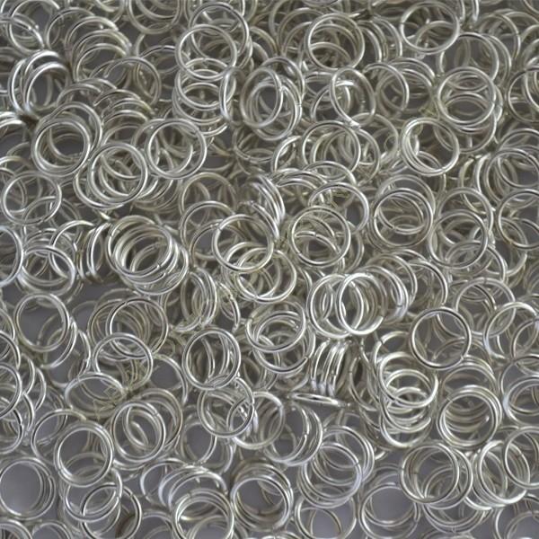 Bolsa de argollas abiertas simples de 8 mm color plateado