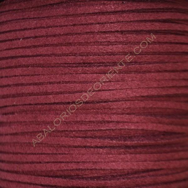 Cordón de antelina burdeos 3 x 1.5 mm