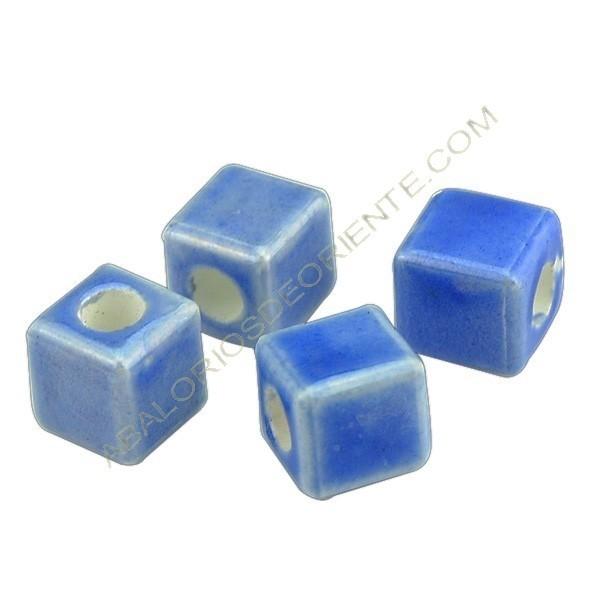 Cuenta de porcelana dado azul