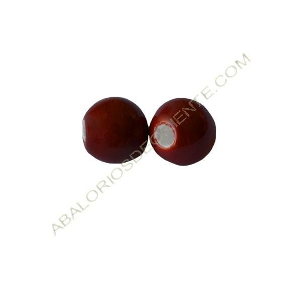 Cuenta de porcelana redonda 8 mm Rojo caldero