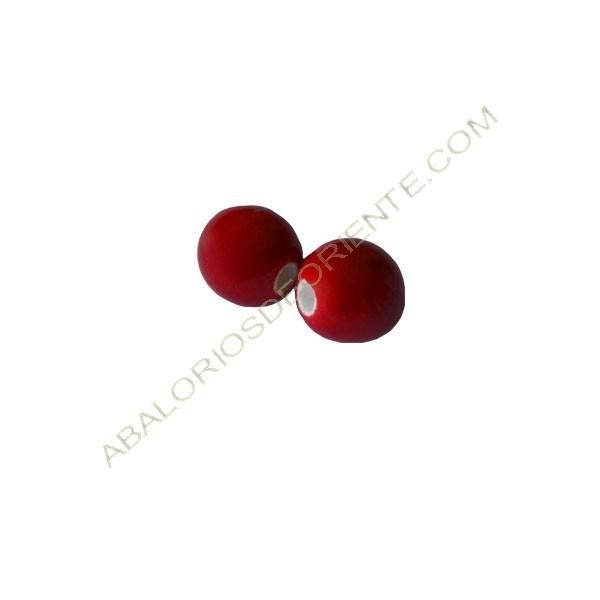 Cuenta de porcelana redonda 8 mm Roja