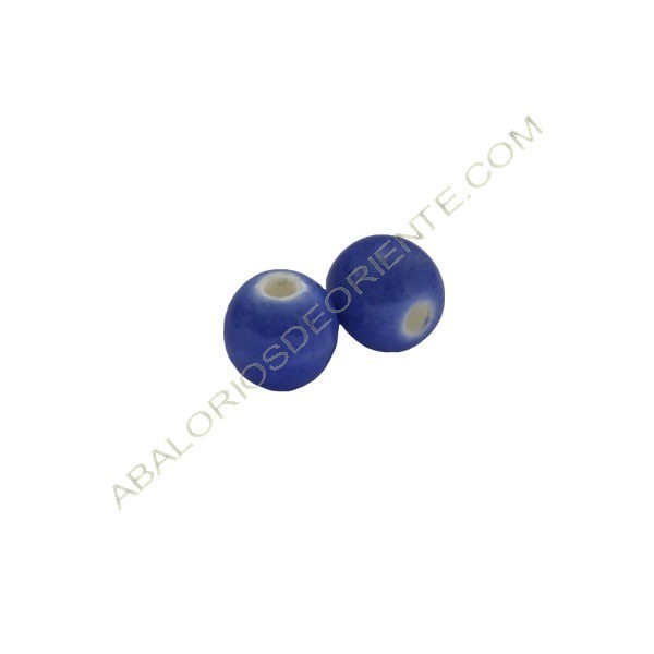 Cuenta de porcelana redonda 8 mm azul