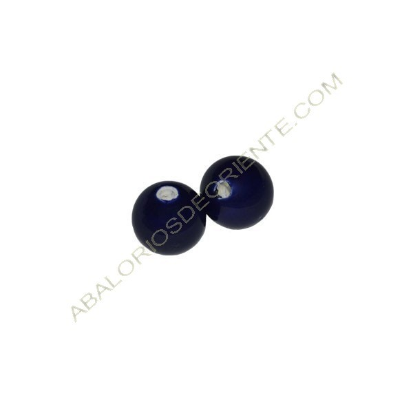 Cuenta de porcelana redonda 8 mm azul marino