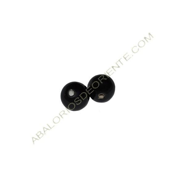 Cuenta de porcelana redonda 8 mm negra