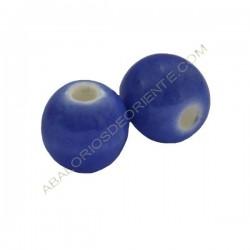 Cuenta de porcelana redonda 12 mm azul