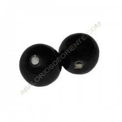 Cuenta de porcelana redonda 14 mm negra