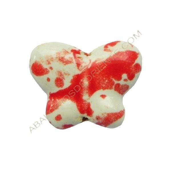 Cuenta de porcelana mariposa roja y blanca