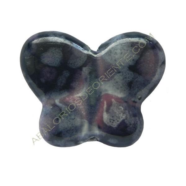 Cuenta de porcelana mariposa azul oscuro y rosa