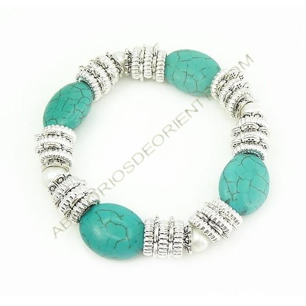 Pulsera de Zamak con perlas y turquesas
