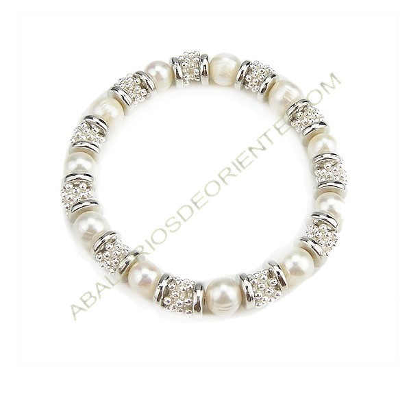 Pulsera de Zamak y perlas