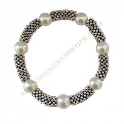 Pulsera de Zamak y perlas de cristal