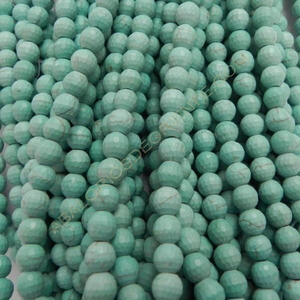 Turquesa facetada bola de polvo natural 8 mm