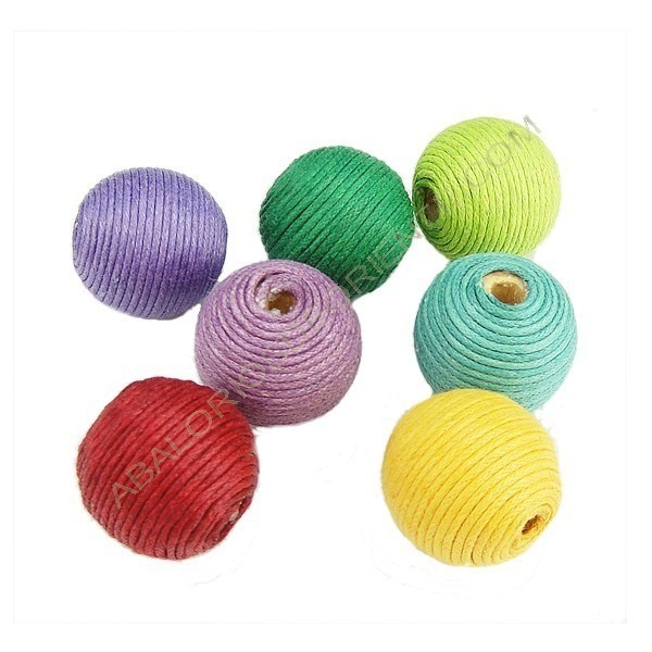 Cuentas de hilo de algodón encerado variadas redonda
