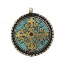 Colgante cruz Dorje turquesa