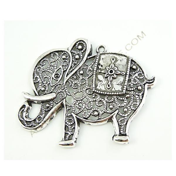 Colgante de aleación de Zinc elefante calado