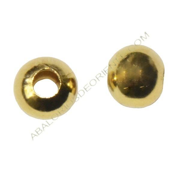 Entrepieza bola hueca achatada 9 x 10 mm dorada