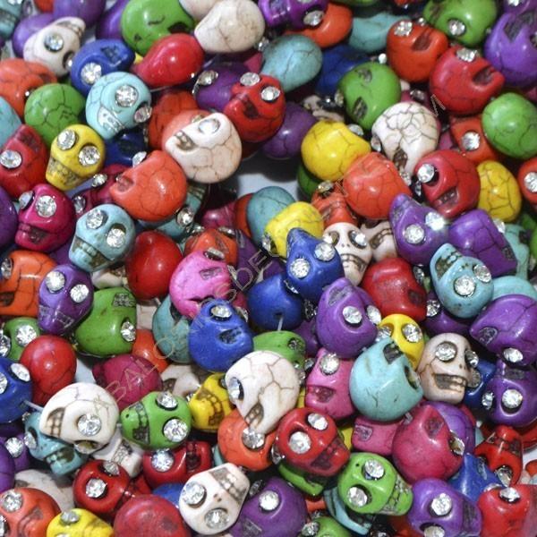 Calaveras variadas 12 x 10 x 12 mm con rhinstons