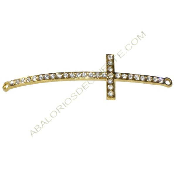 Cruz conectora dorada con rhinestone para pulsera