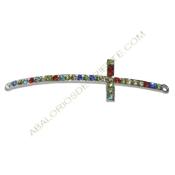 Cruz conectora plateada con rhinestone multicolor para pulsera