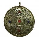 Colgante redondo Mandala dorado con filigranas