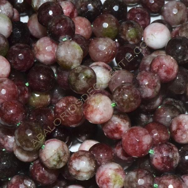 Ágata natural rosa facetada de 8 mm