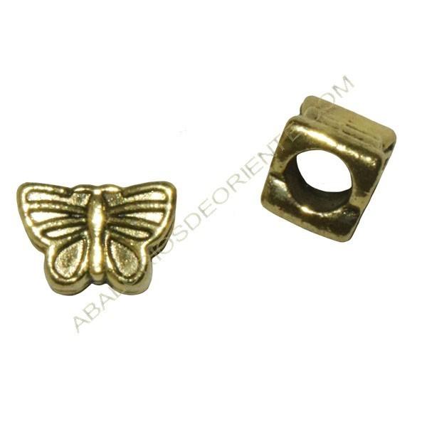 Entrepieza mariposa dorada cuero regaliz