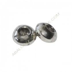 Entrepieza de aleación de Zinc bola lisa 3 x 5 mm plateada