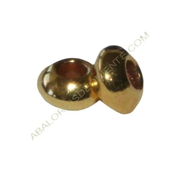 Bolsa de 50 unidades de entrepiezas de Zamak bola lisa achatada 3 x 5 mm dorada