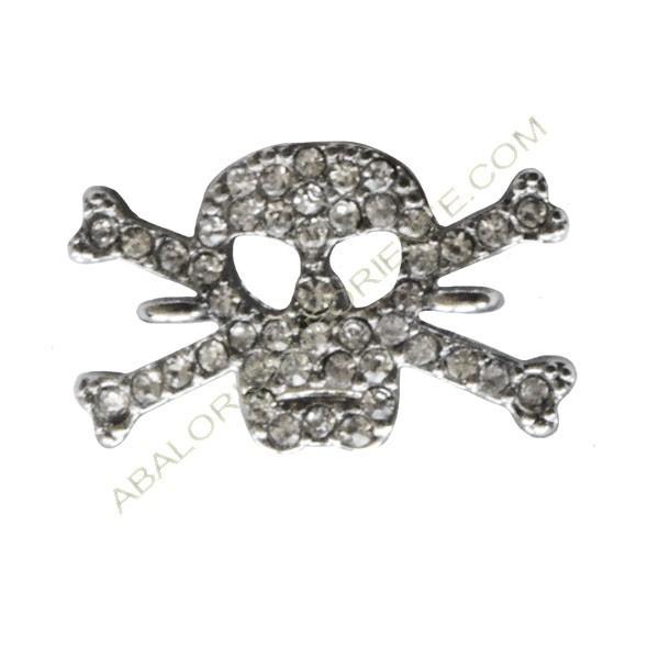 Conectora de aleación de Zinc calavera plateada pirata con rhinestones