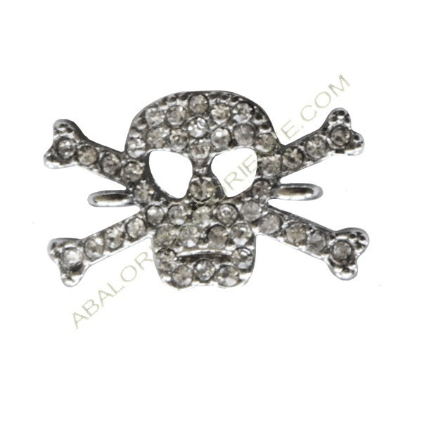 Conectora de zamak calavera plateada pirata con rhinestones