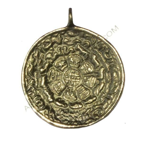 Colgante tibetano calendario redondo dorado