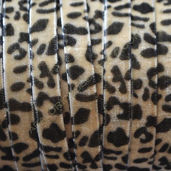 Cinta de terciopelo leopardo beige